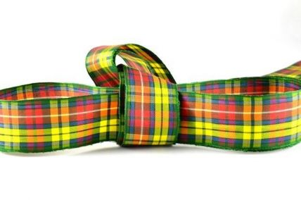 16mm & 25mm Yellow & Red Tartan Ribbon x 4 Metre Rolls!