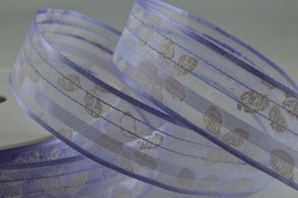 40mm Lilac Sheer Flower Wired Ribbon x 20 Metres!