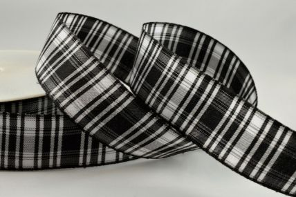 12mm Black and White Tartan Ribbon x 100 Metres!
