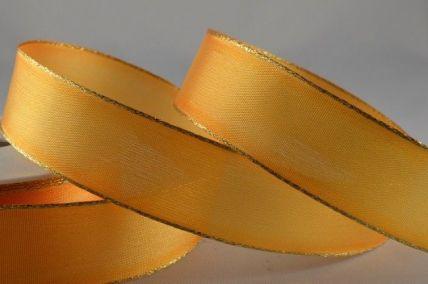 25mm & 40mm Goldy Orange Organza Ribbon with Gold Lurex Edge x 20 Metre Rolls!!