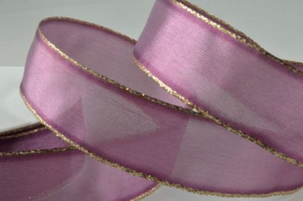 40mm Orchid Organza Ribbon with Gold Lurex Edge x 20 Metre Rolls!!
