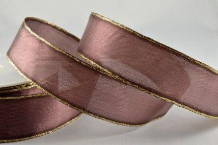 25mm & 40mm Brown Organza Ribbon with Gold Lurex Edge x 20 Metre Rolls!