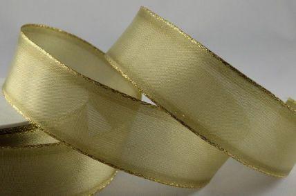 25mm & 40mm Olive Organza Ribbon with Gold Lurex Edge x 20 Metre Rolls!!