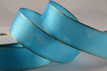 25mm Aqua Blue Organza Ribbon with Gold Lurex Edge x 20 Metre Rolls!!