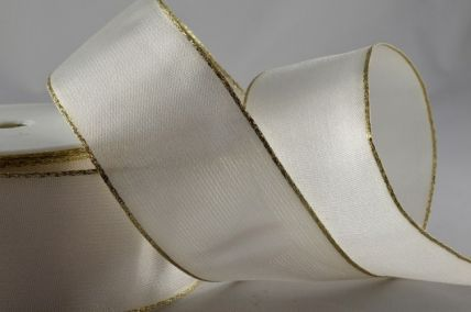 40mm Cream Organza Ribbon with Gold Lurex Edge x 20 Metre Rolls!!