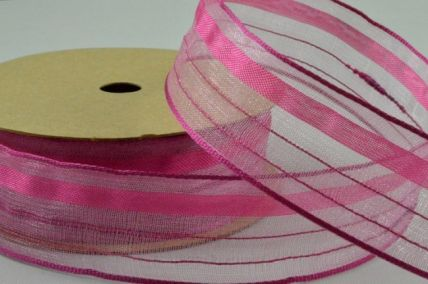 25mm Pink Wired Sheer Lined Ribbon x 3 Metre Rolls!