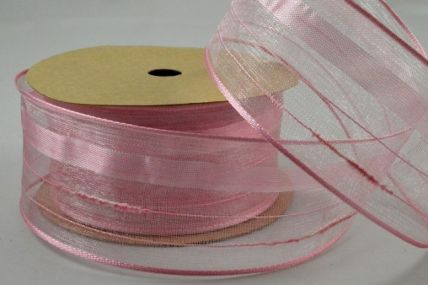 40mm Baby Pink Wired Striped Design Ribbon x 3 Metre Rolls!