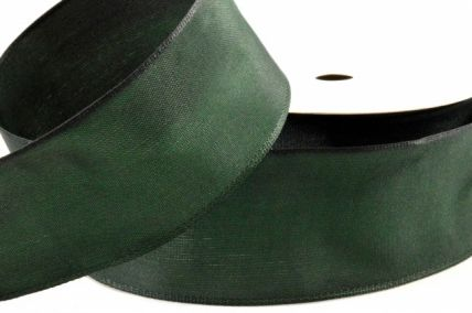 38mm Wired Green Woven Ribbon x 6.5 Metre Rolls!