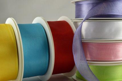 43999- 25mm, 40mm & 70mm Wired Sheer Ribbon x 25 metre rolls!