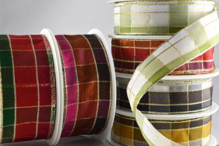 15mm, 25mm & 40mm Regal Plaid (Wired) Ribbon x 20 Metre Rolls!!