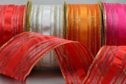 40mm Lurex Striped Wired Ribbon x 3 Metre Rolls!