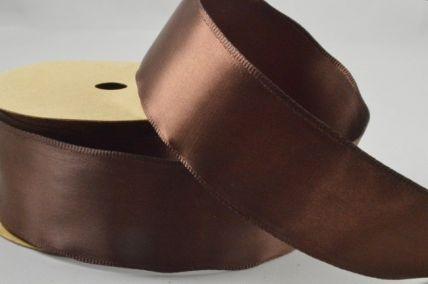 35mm Brown Wired Satin Ribbon x 3 Metre Rolls!