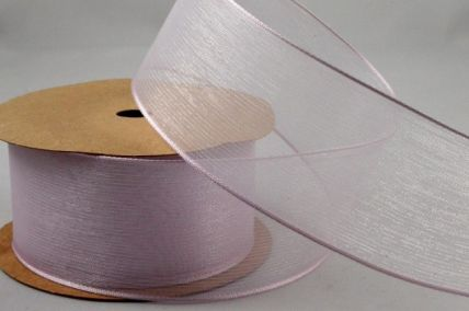 40mm Wired Baby Pink Sheer Ribbon x 3 Metre Rolls!