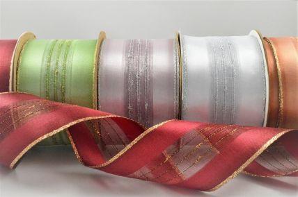 50mm Wired Lurex Woven Ribbon x 3 Metre Rolls!
