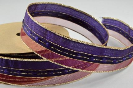 25mm Purple Wired Sheer & Lurex Ribbon x 3 Metre Rolls!