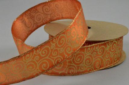 25mm Orange Wired Printed Pattern Ribbon x 3 Metres!!