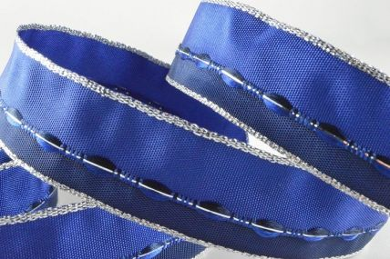 25mm Blue Wired Coloured Ribbon with Woven Thread x 20 Metre Rolls!