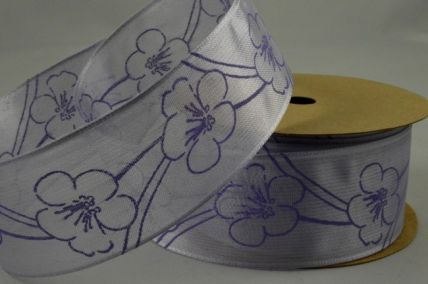 40mm Lilac Flowered Patterned Wired Ribbon x 3 Metre Rolls!!