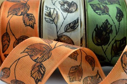 40mm Wired Sheer Leaf Ribbon x 3 Metre Rolls!