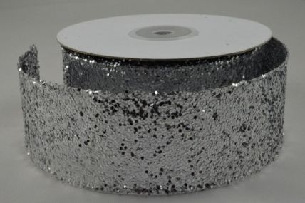 38mm Silver Wired Sequin Ribbon x 10 Metre Rolls!