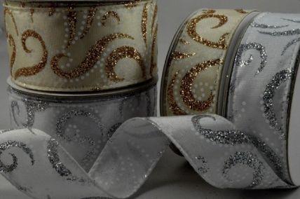 25mm & 38mm Glitter Swirling Ribbon Design x 10 Metre Rolls!