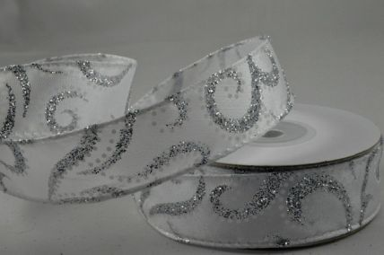 25mm Silver Glitter Swirling Ribbon Design x 10 Metre Rolls!