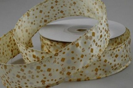 25mm & 38mm Cream Wired Glitter Patterned Ribbon x 10 Metre Rolls!