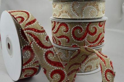46019 - 25mm & 38mm Natural Glitter Printed Ribbon x 10 Metre Rolls!