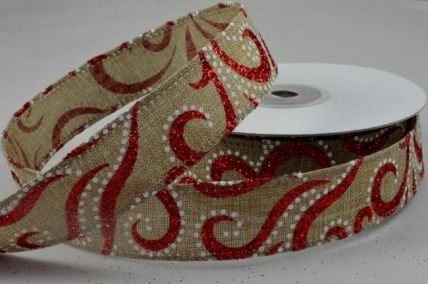 25mm or 38mm Red Natural Glitter Printed Ribbon x 10 Metre Rolls!