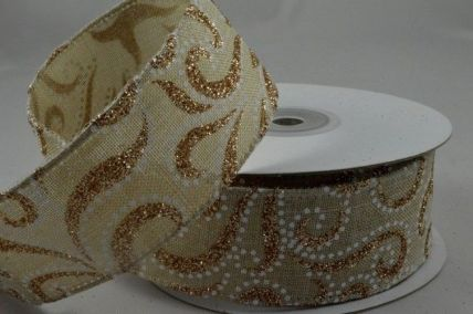 25mm & 38mm Gold Natural Glitter Printed Ribbon x 10 Metre Rolls!
