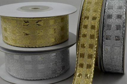 15mm & 25mm Wired Lurex Square Ribbon x 10 Metre Rolls!
