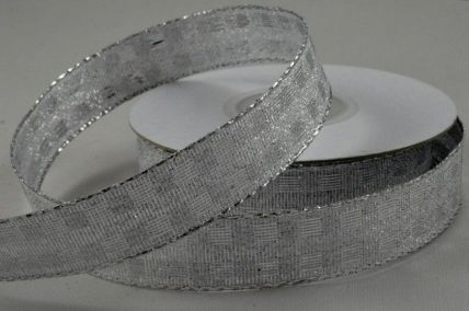 15mm Silver Wired Lurex Square Ribbon x 10 Metre Rolls!