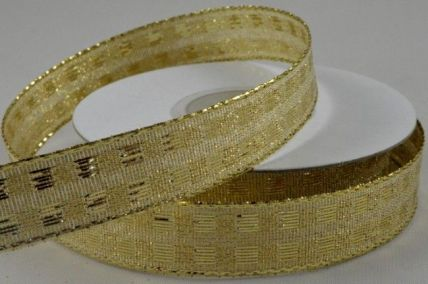15mm & 25mm Gold Wired Lurex Square Ribbon x 10 Metre Rolls!