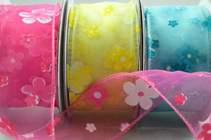 25mm & 38mm Wired Sheer Organza Floral Ribbon x 10 Metre Rolls!