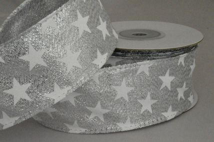 38mm Wired Silver Lurex Starred Ribbon x 10 Metre Rolls!