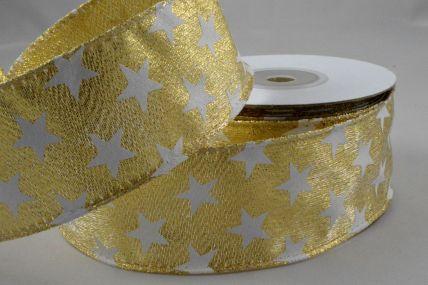 25mm & 38mm Wired Gold Lurex Starred Ribbon x 10 Metre Rolls!