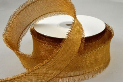 25mm & 38mm Gold Wired Ribbon with Fringed Edges x 10 Metre Rolls!