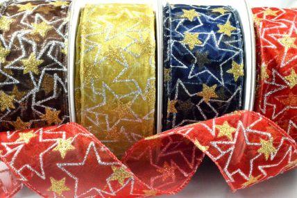38mm Wired Sheer Glitter Star Ribbon x 10 Metre Rolls!