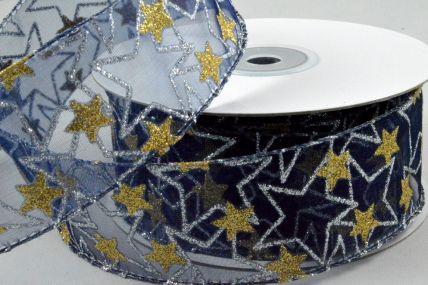 38mm Blue Wired Sheer Glitter Star Ribbon x 10 Metre Rolls!