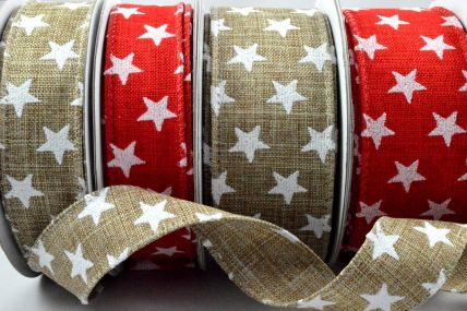 25mm or 38mm Wired Star Printed Ribbon x 10 Metre Rolls!
