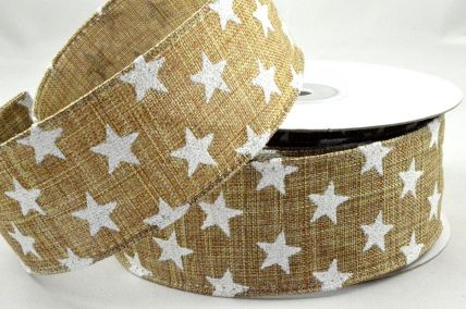 25mm & 38mm Wired Natural Star Printed Ribbon x 10 Metre Rolls!
