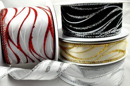 46034 - 25, 38 & 63mm Wired Lurex Wavey Ribbon x 10 Metre Rolls!