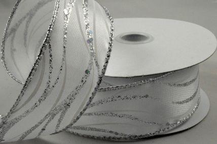 63mm Wired Silver Lurex Wavey Ribbon x 10 Metre Rolls!