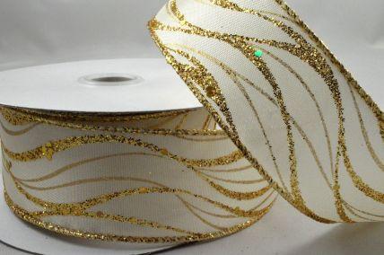 25mm, 38mm & 63mm Wired Gold Lurex Wavey Ribbon x 10 Metre Rolls!