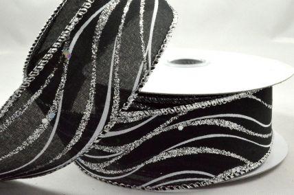 25mm, 38mm & 63mm Wired Black Lurex Wavey Ribbon x 10 Metre Rolls!
