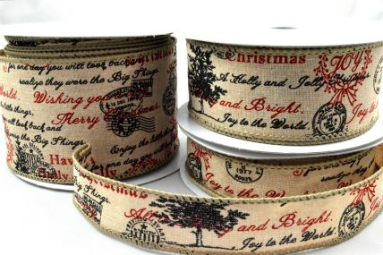 25mm, 38mm & 63mm Wired Burlap Merry Christmas Postal Ribbon x 10 Metre Rolls!