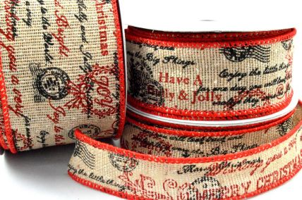 25mm, 38mm & 63mm Wired Merry Christmas Scroll Burlap Ribbon x 10 Metre Rolls!