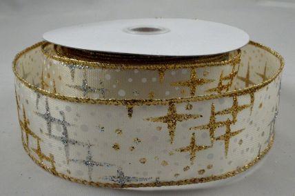 25mm, 38mm & 63mm Wired Gold & Silver Glitter Star Printed Ribbon x 10 Metre Rolls!
