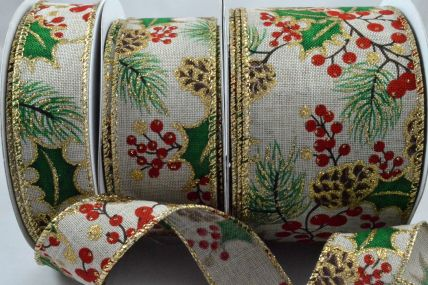 25, 38 & 63mm Wired Holly Leaf & Berries Burlap Printed Ribbon x 10 Metre Rolls!