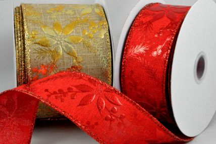 38mm & 63mm Wired Christmas Burlap Floral Ribbon x 10 Metre Rolls!
